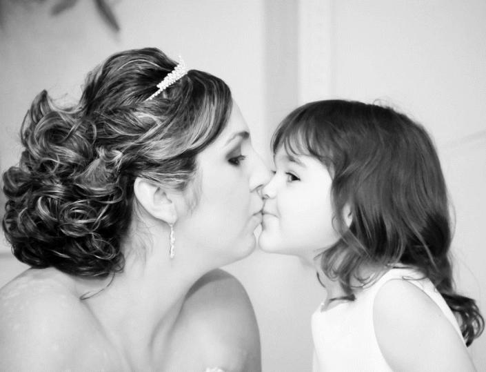 Black & white photo of mother & daughter.